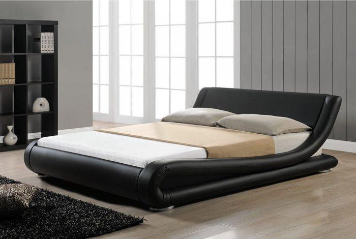 Juodos spalvos, moderni dvigule lova Nica