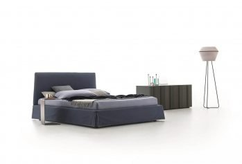 Tamsiai pilka, moderni dvigule lova Adel