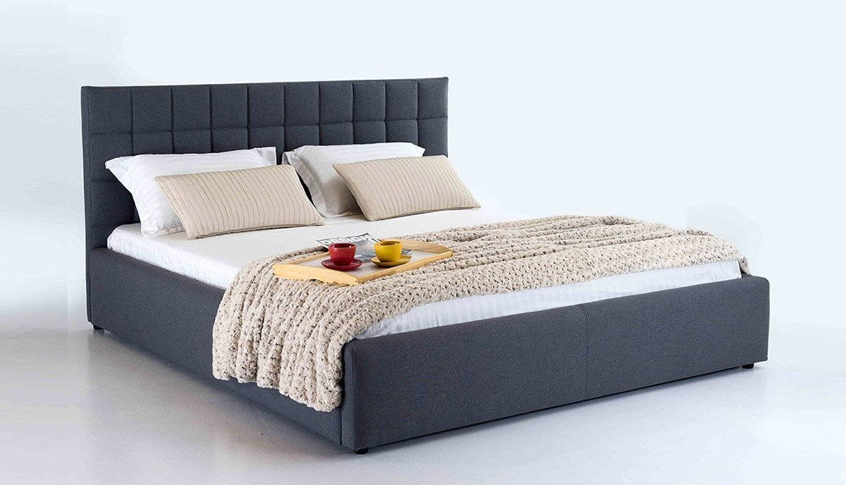 Modernaus dizaino dvigule lova Bangkok pilkos spalvos, galvugalis prasiuvinetas kvadraciukais