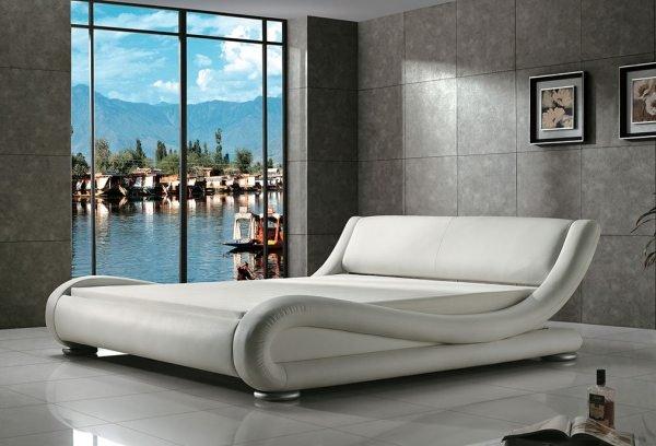 Balta dvigulė miegamojo lova Nica