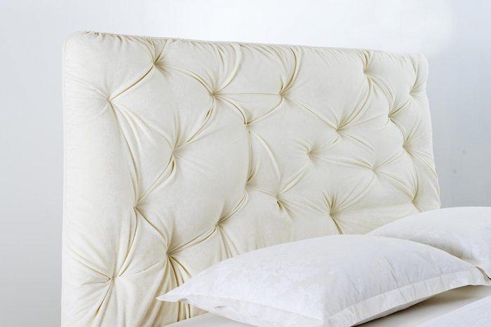 Kreminė, moderni, dvigulė lova Korina