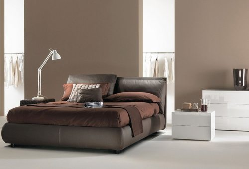 Modernaus dizaino dvigule lova Heaven rudos spalvos