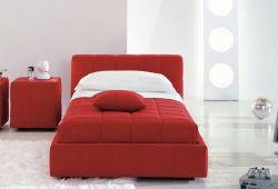 Raudona, moderni viengule lova Uno