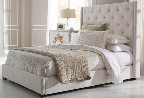 Klasikinio dizaino dvigule lova Luna kremines spalvos su aukstu galvugaliu su itraukimais