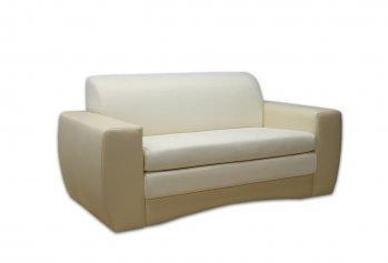 Kreminė, klasikinė, dvivietė sofa-lova Hugo