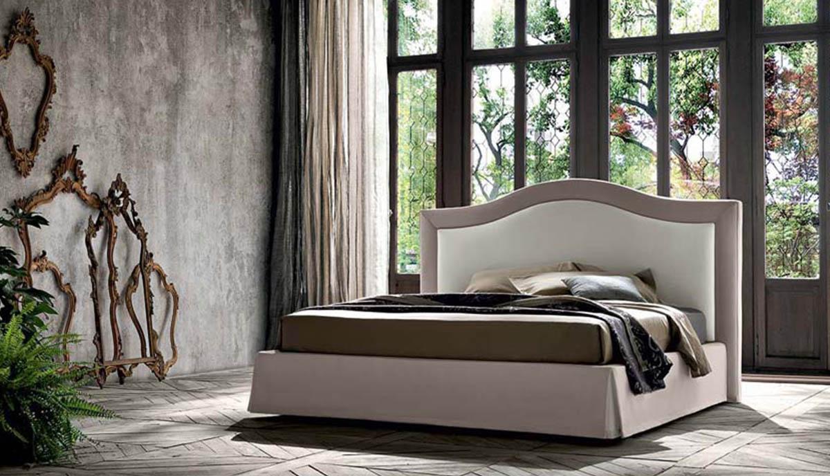 Klasikinio stiliaus dvigule lova Indigo kremines spalvos su formuotu galvugaliu