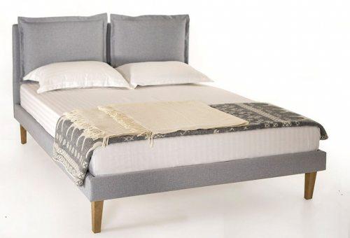 Dvigule lova Elegant pilkos spalvos su pagalvemis