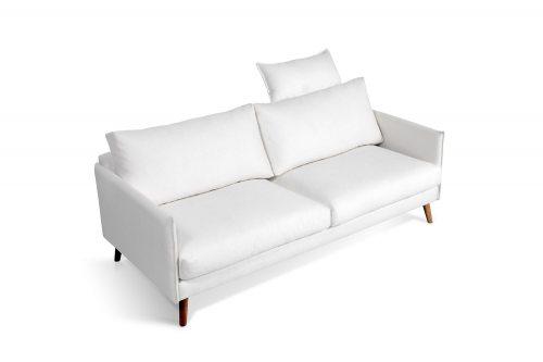 Balta, moderni sofa Cumulus su atlosu galvai