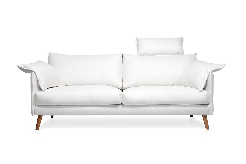 Balta, moderni sofa Cumulus su porankiais ir atlosu galvai