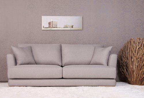Pilka, moderni dviviete sofa Andango