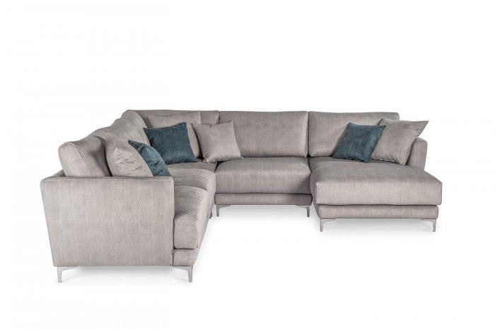 Pilka, moderni kampine sofa Andango ant kojeliu
