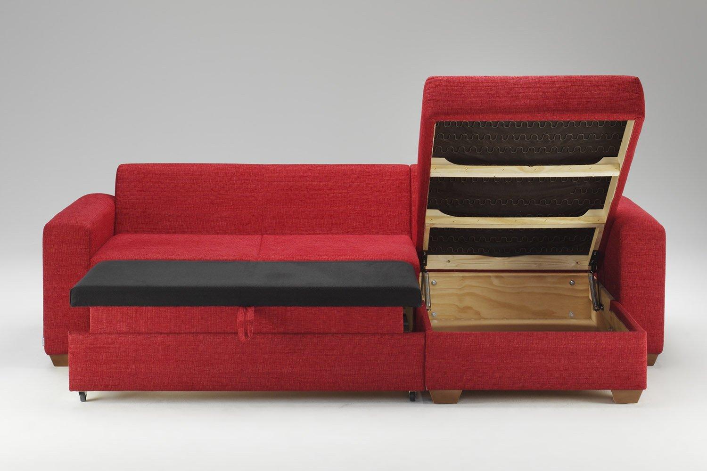 Raudonas, klasikinis minkstas kampas Roma su miegama vieta ir patalynes deze