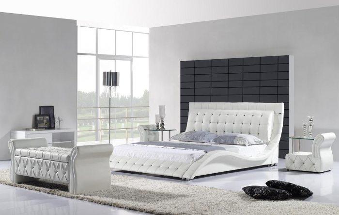 Moderni, dvigule lova Elis balta su juodais kristalais