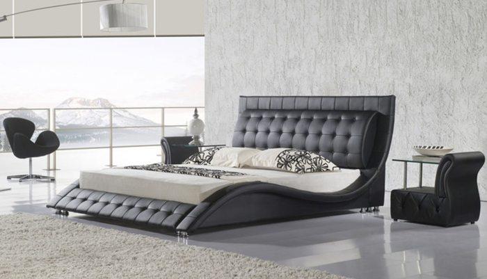Imantraus dizaino lova Elis juodos spalvos, galvugalis ir kojugalis su itraukimais, su swarovski kristalais