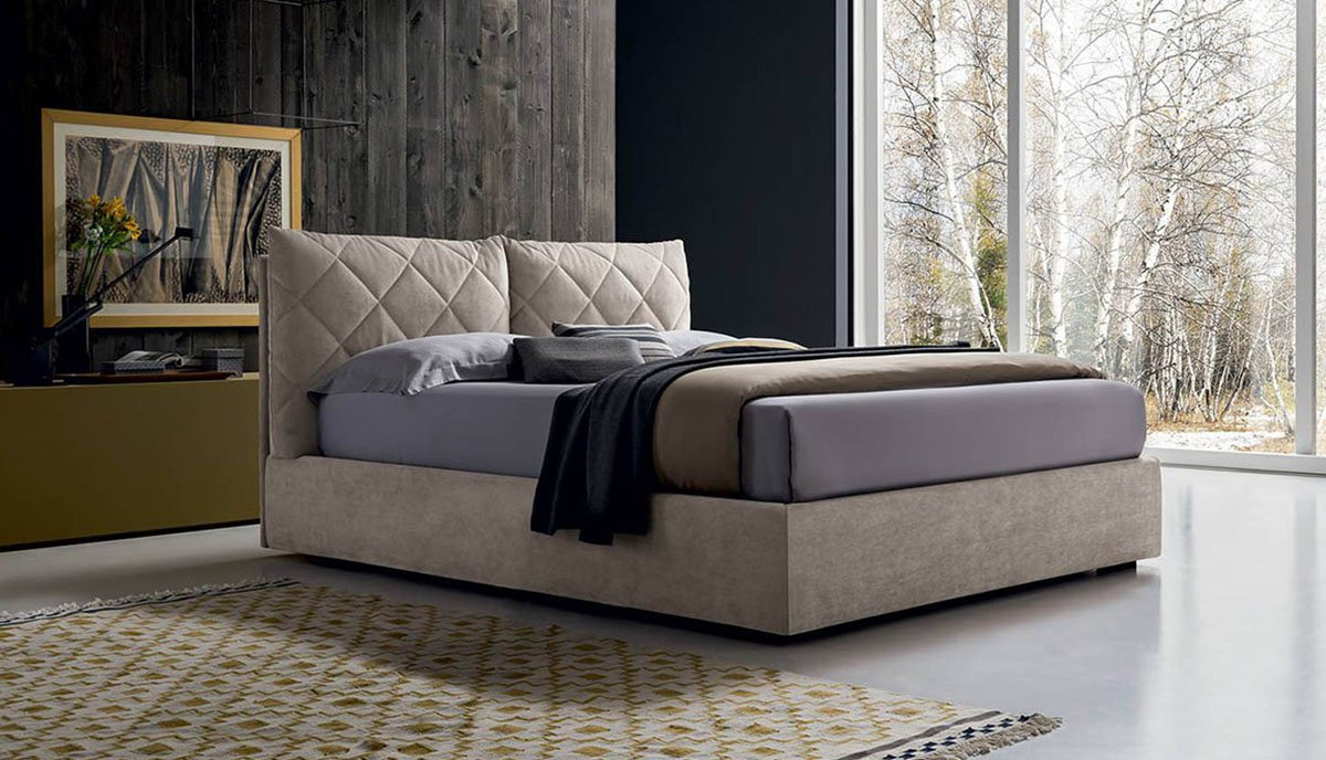 Moderni dvigule lova Dream rusvos spalvos, dideles prasiuvinetos rombais pagalves