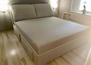 Kreminė dvigulė miegamojo lova Selena su stalčiais, kliento atsiliepimas